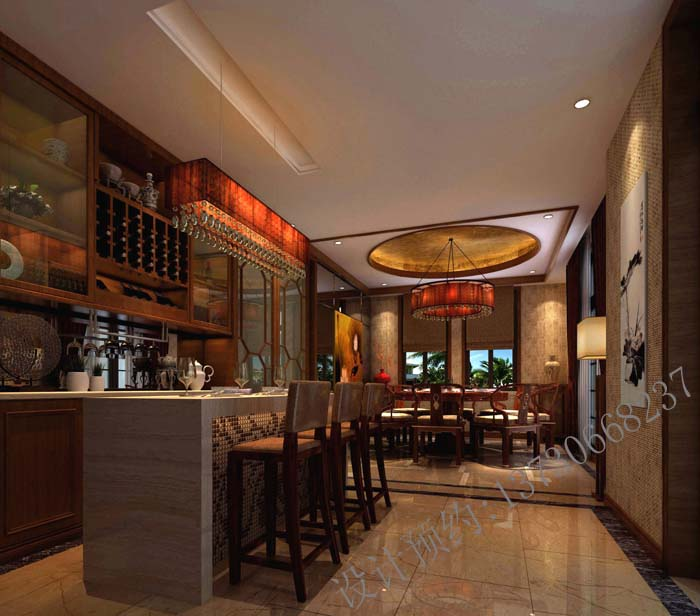 龙湖长桥郡_新中式风格餐厅设计效果图_成都家装设计案例