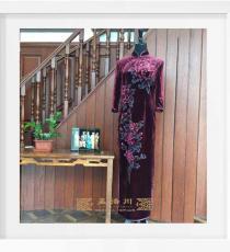 紫江红手绘真丝丝绒旗袍