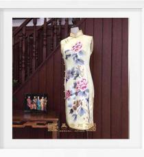 黄色五朵牡丹真丝手工旗袍